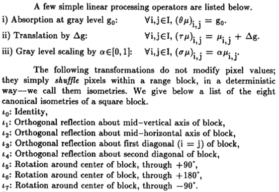 Transformations used by Jacquin's original algorithm.